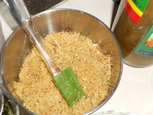 The Lemon Grass, Lime Leaves, and Chilies mixture should be this finely chopped.