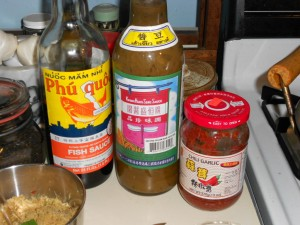 fish sauce, yellow bean sauce, chili sauce